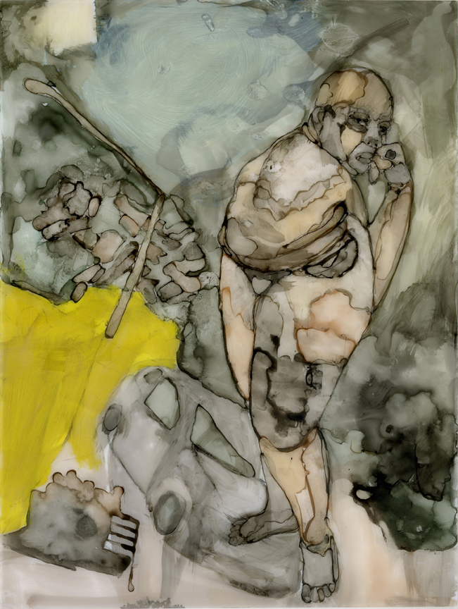 Moving Forward. 2011. 9″ x 12″. Ink, charcoal, graphite, and oil bar on polypropylene.