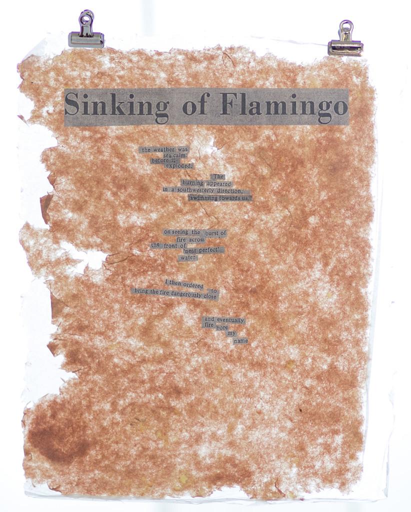 Sinking of Flamingo. Handmade paper.