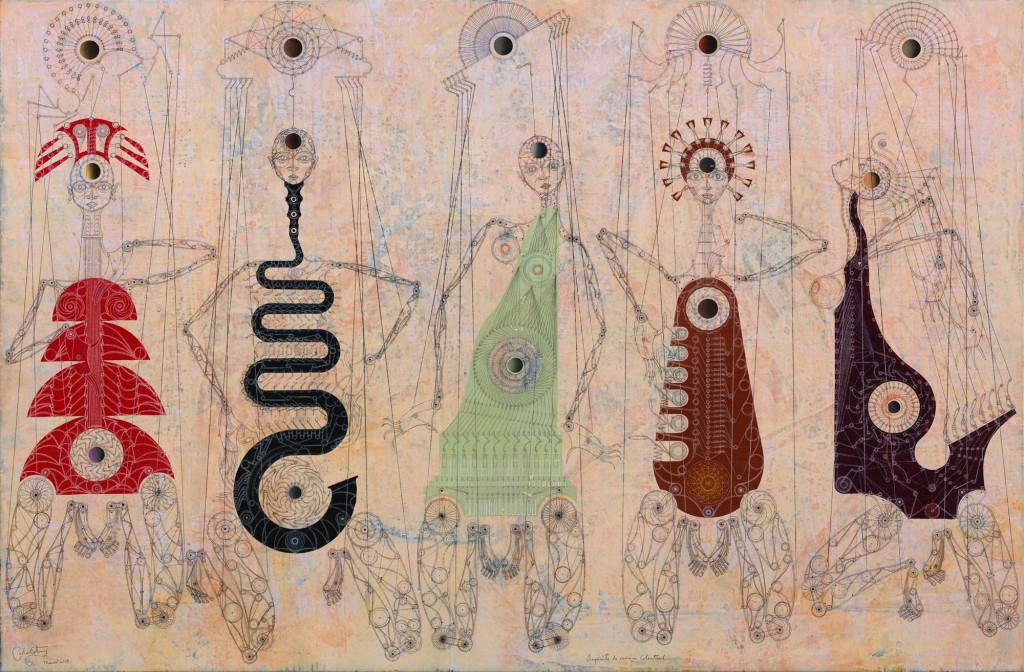 20150712-Orquesta de cámara celestial. 2015. Óleo y lápices de acuarela sobre lino. 168 x 254 cm